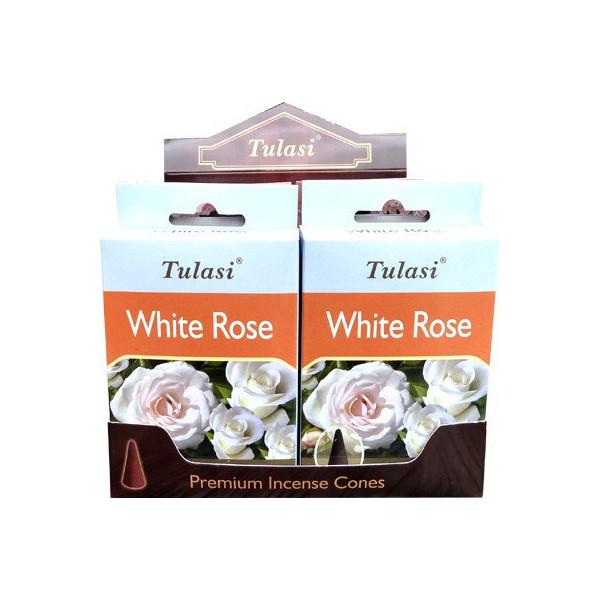 Cônes d'encens Tulasi rose blanche.
