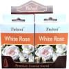 Weiße Rose Tulasi Weihrauchkegel.