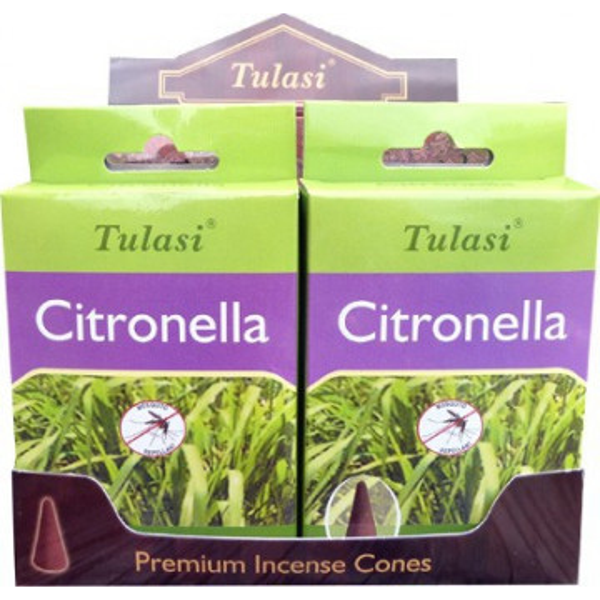 Cônes d'encens Tulasi citronnelle.
