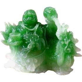 Statue de bouddha assis pierre façon jade.