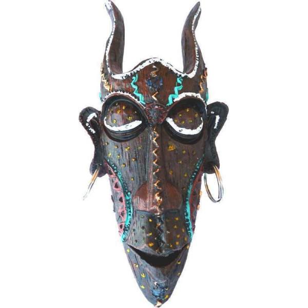 Dekorative Maske mit farbigen Hörnern.