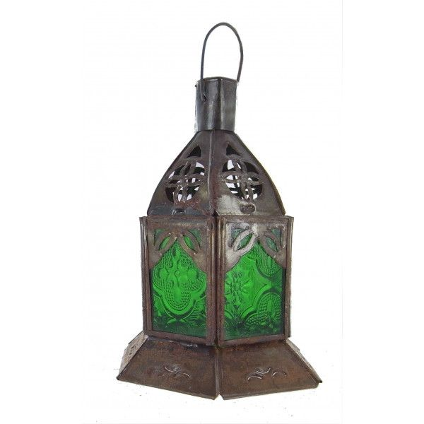 Lanterne marocaine en verre teinté vert