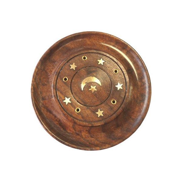 Porte encens batons et cônes bois et laiton motif lune & étoiles.
