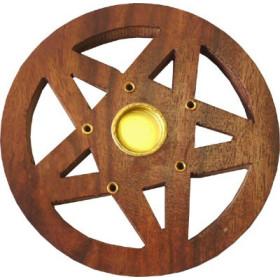 Porte encens batons et cônes bois et laiton motif pentacle ciselé .