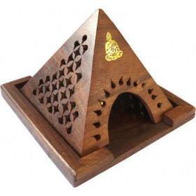 Porte encens pyramide bois pour cône motif bouddha