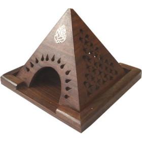 Porte encens pyramide bois motif ganesh pour cône.