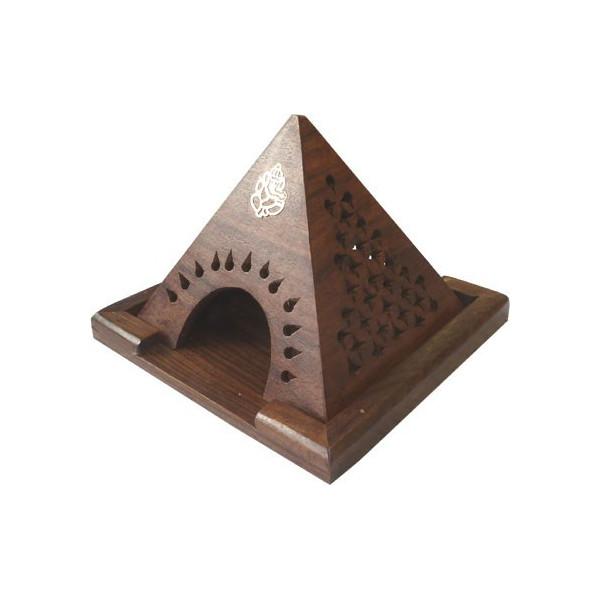 Porte encens pyramide bois pour cône.