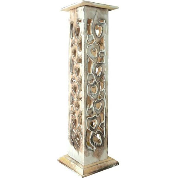 Porte encens colonne en bois ciselé.