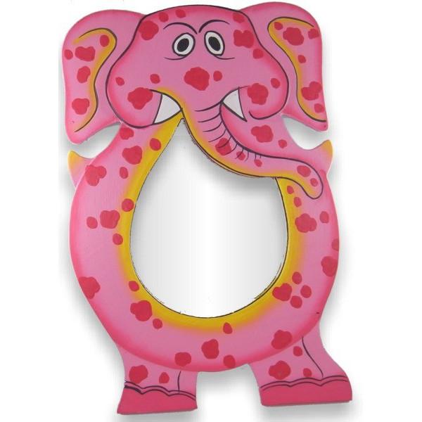 Miroir peint à la main éléphant rose