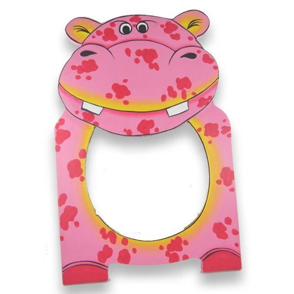 Miroir peint à la main hippopotame rose