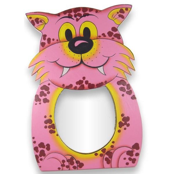 Miroir peint à la main tigre rose