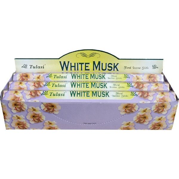 Boite d'encens tulasi musk blanc 20gr.