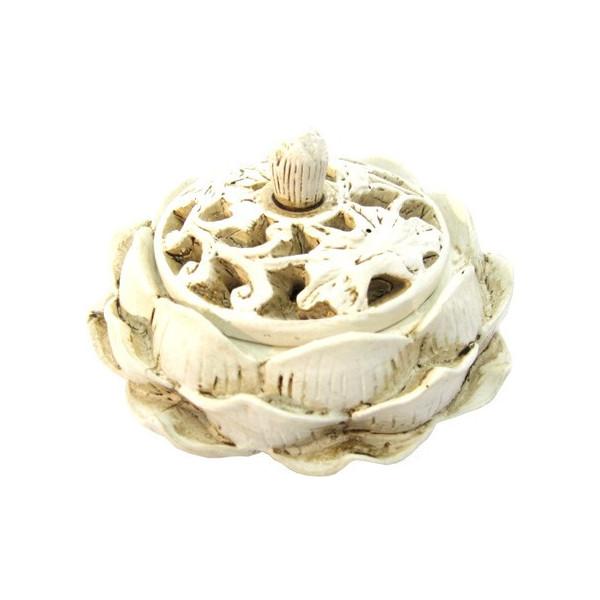 Weihrauchhalter aus weißem Lotuskegel