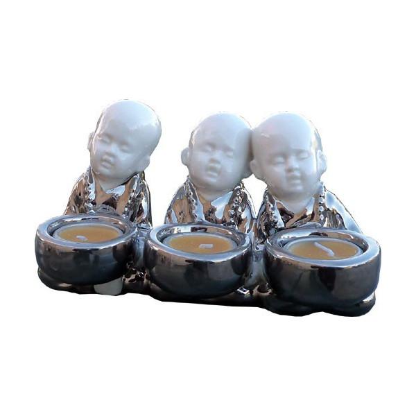 Kerzenhalter 3 sitzende Mönche aus Keramik