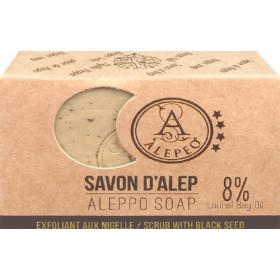 Savon d'Alep exfoliant aux nigelle 100 gr.
