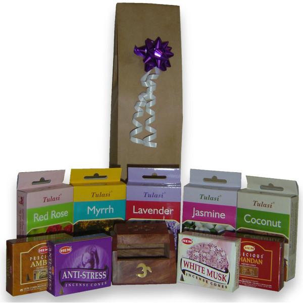 Geschenkpaket für 9 Schachteln Weihrauchzapfen + Weihrauchhalter