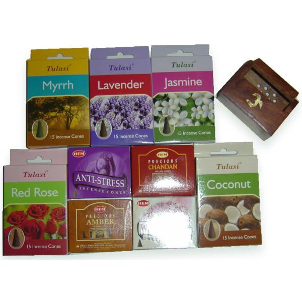 Pack cadeau prêt à offrir 9 boites cônes d'encens + porte encens