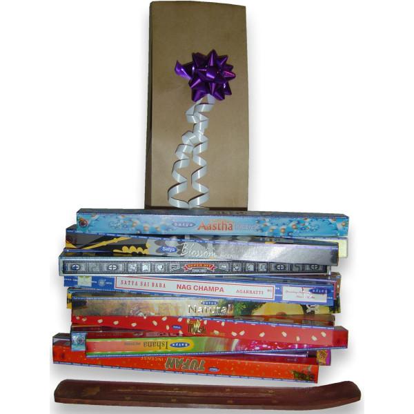 Geschenkpaket für 21 Schachteln Satya Weihrauch + Weihrauchhalter