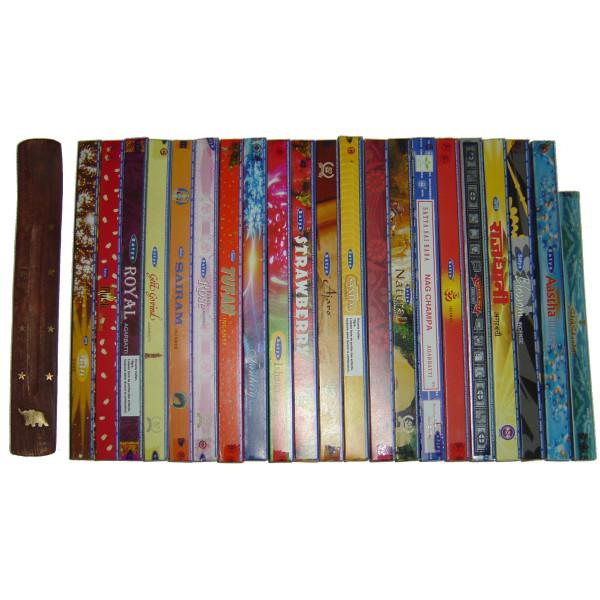Pack cadeau prêt à offrir 21 boites d'encens Satya + porte encens
