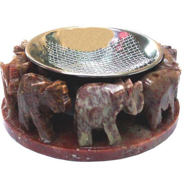 Brûle encens résine ronde d'éléphants pierre.