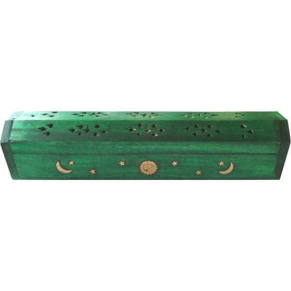 Porte encens grande boite vert foncé lune et soleil