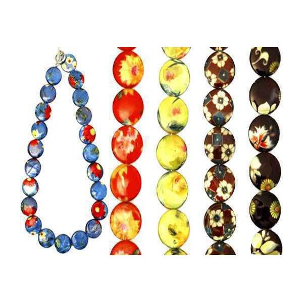 Collier coquillages disques kimono lustré