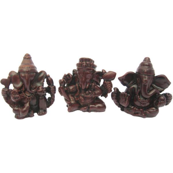 Lot de 3 Ganesh en résine rouge