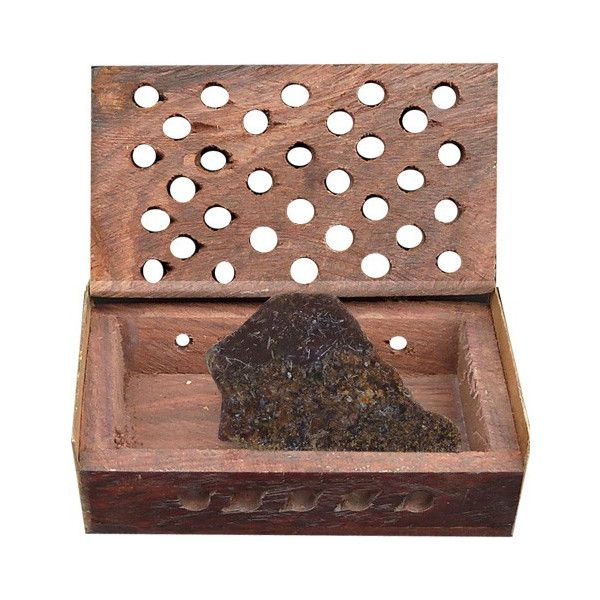 Boite en bois et pierre myrrhe.