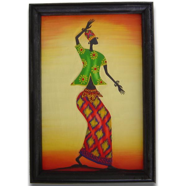 Tableau bois femme africaine