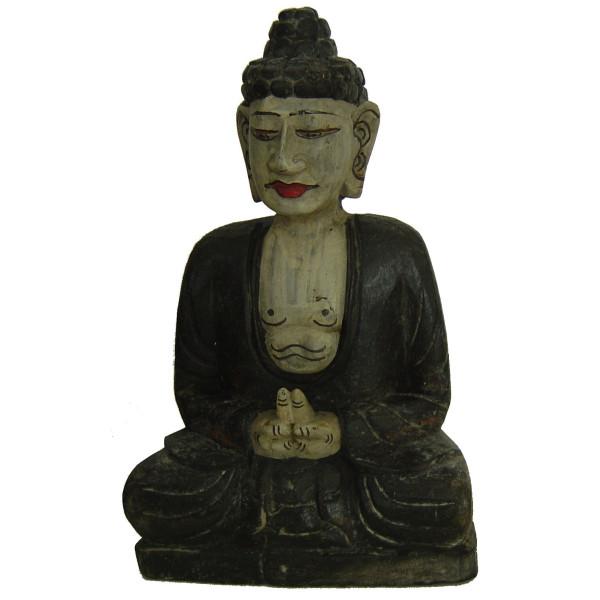 Statuette bouddha en bois peint
