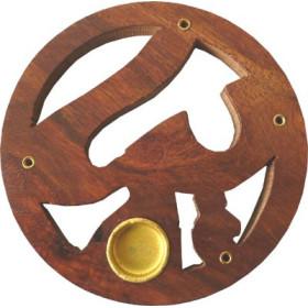 Porte encens bâtons et cônes bois et laiton motif ajouré