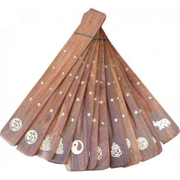 Lot de 12 portes encens bâtons en bois et motif laiton