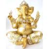 Statue ganesh or et blanc 20 cm