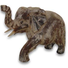 Eléphant en bois de manguier blanchi
