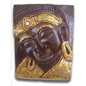 Tableau bois foncé bouddha doré