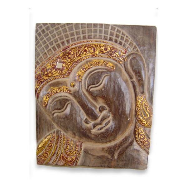 Tableau bois clair bouddha doré