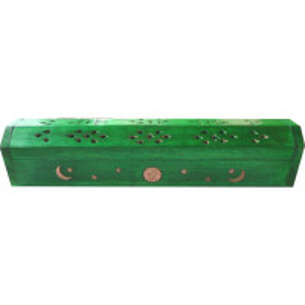 Porte encens grande boite vert clair lune et soleil