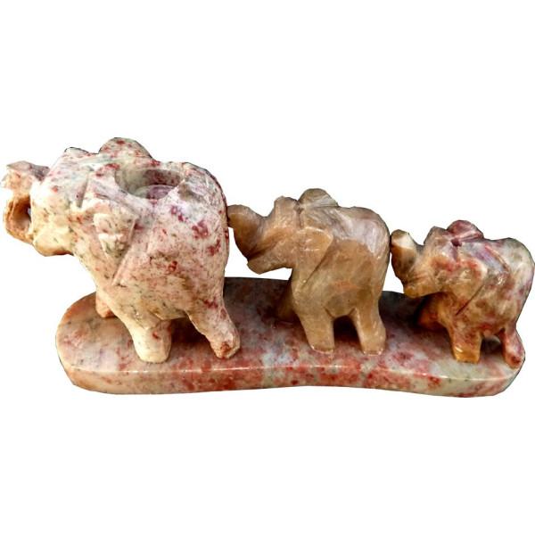 Porte encens en pierre 3 éléphants.