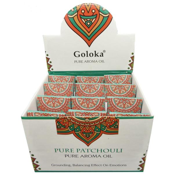 Eine Flasche Goloka-Patschuli-Duftöl