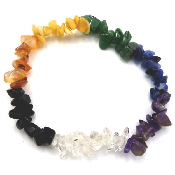 Bracelet 7 chakras chips pierres naturelles