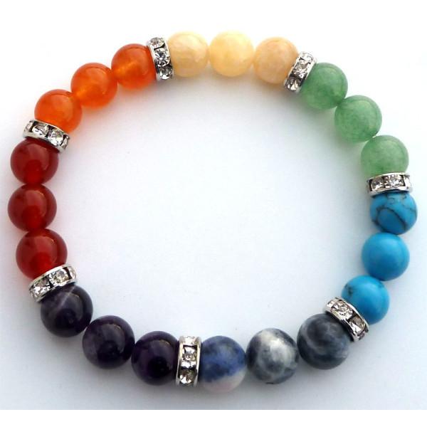 Bracelet 7 chakras perles 8 mm, pierres naturelles