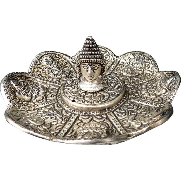 Porte encens batons et cônes tête de bouddha en métal