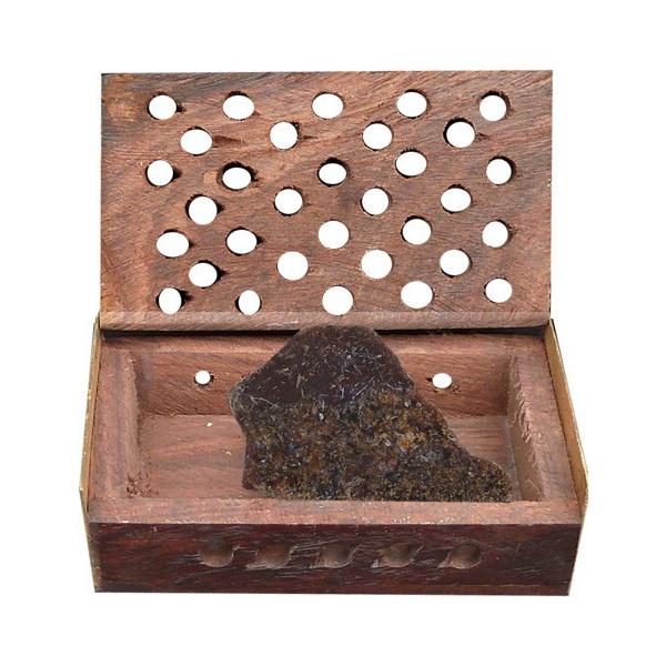 Boite en bois et pierre oudh ambre.
