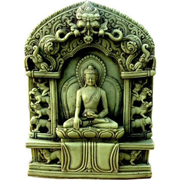 Autel bouddha méditation en pierre verte de 10 cm