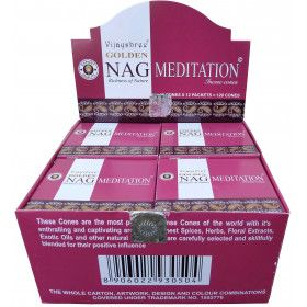 Goldener Nag Meditationsweihrauch in Zapfen