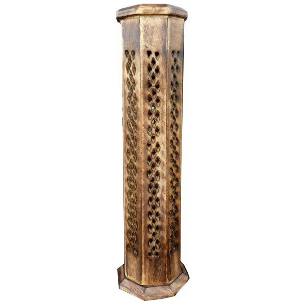 Porte encens grande tour octogonale antique ciselé