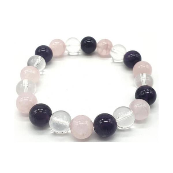 Bracelet Améthyste, Cristal, Quartz Rose