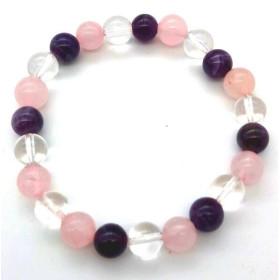 Bracelet Améthyste, Cristal, Quartz Rose perles 8mm