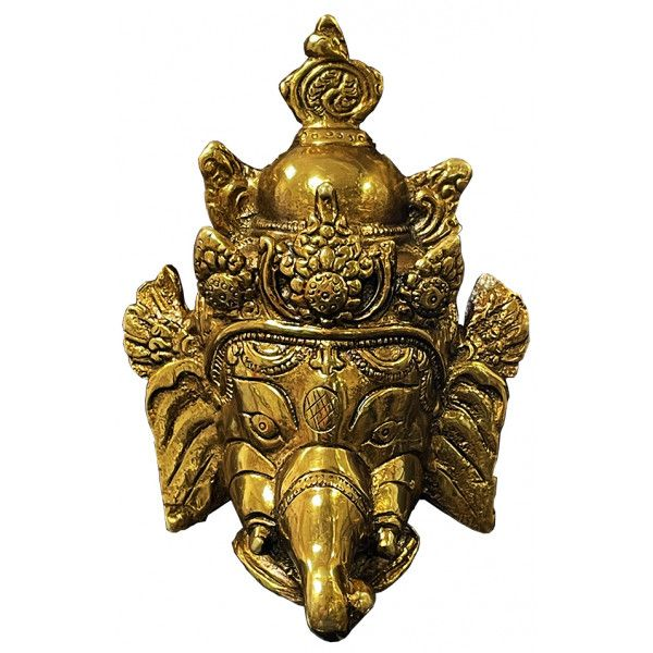 Tête de Ganesh en laiton de 14 cm
