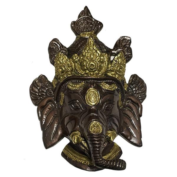 Tête de Ganesh en laiton en 2 couleurs de 14 cm